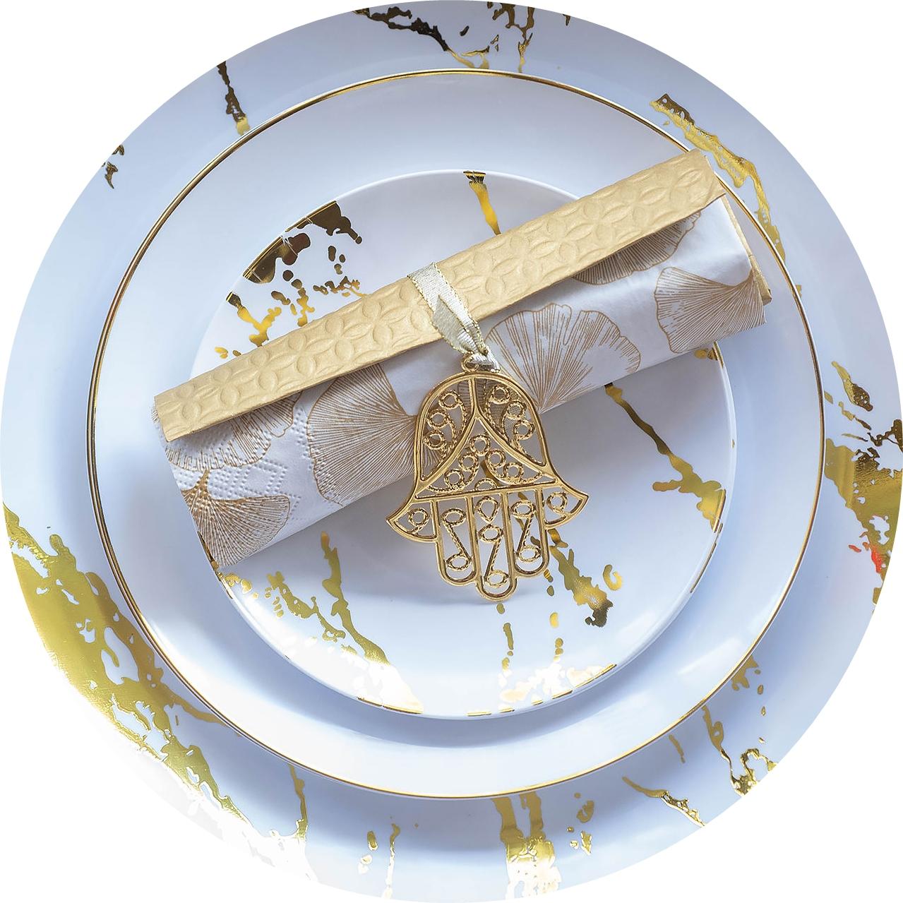 עיצוב שולחן חג זהב לבן לראש השנה