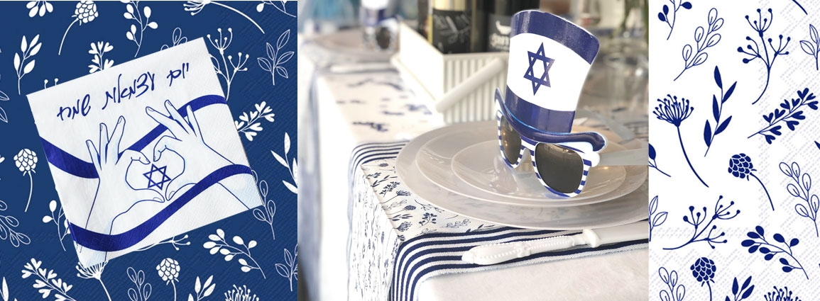 שולחן פריחה בכחול ולבן