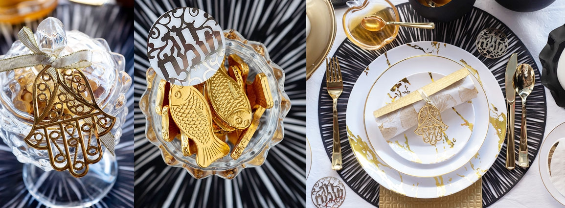 עיצוב שולחן חג שחור לבן זהב