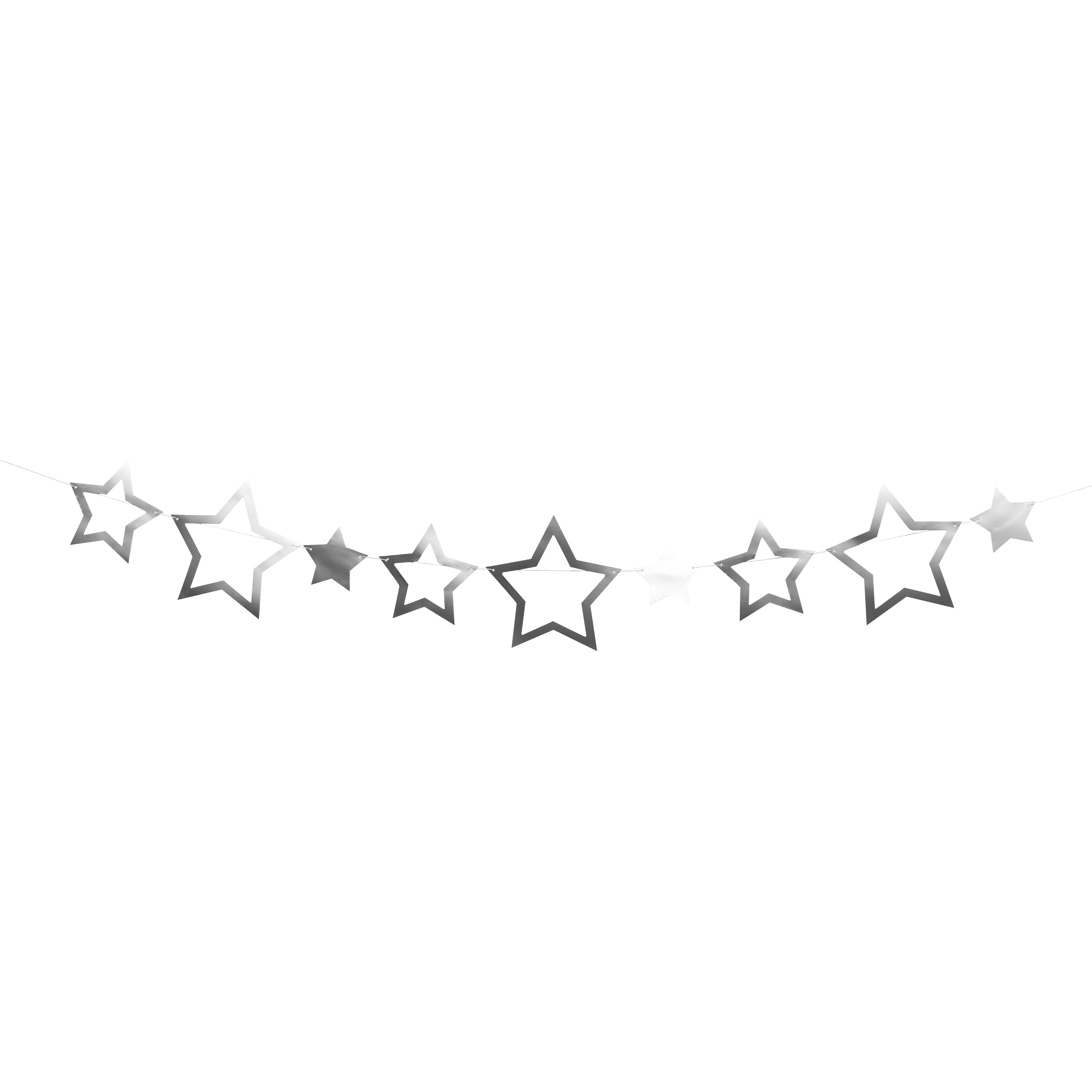 שרשרת כוכבים כסף גליטר