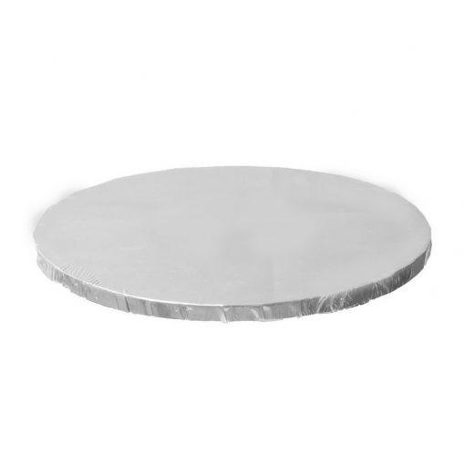 בסיס עוגה עגול מקרטון- כסף