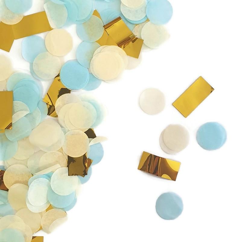 קונפטי עיגולי נייר - כחול, ירוק, לבן, קונפטי, מנטה, קישוט שולחן, סידור שולחן, קישוטים, כחול, ירוק, לבן, קונפטי נייר, קונפטי עיגולים