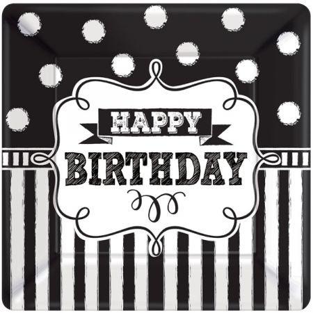 בלון מרובע שחור לבן Happy Birthday
