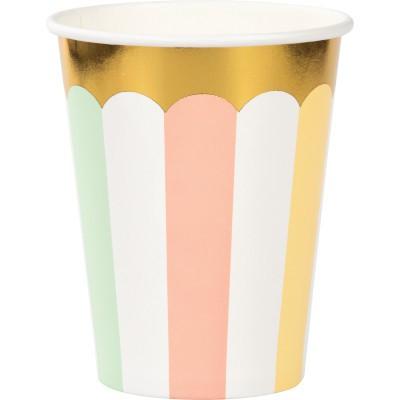 כוסות פסים צבעי פסטל