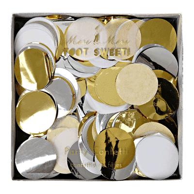 קונפטי עיגולי נייר כסף זהב לבן - Meri Meri