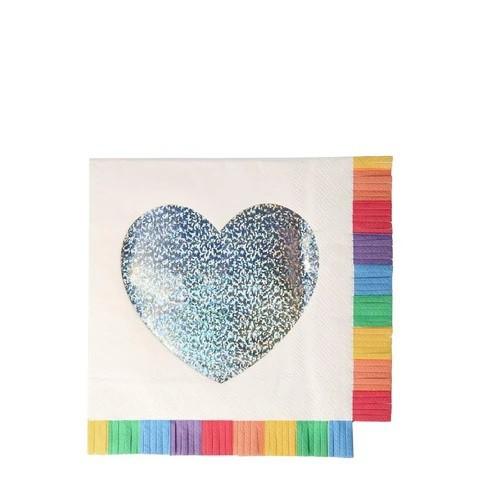 מפיות לב עם פרנזים בצבעי הקשת - Meri Meri