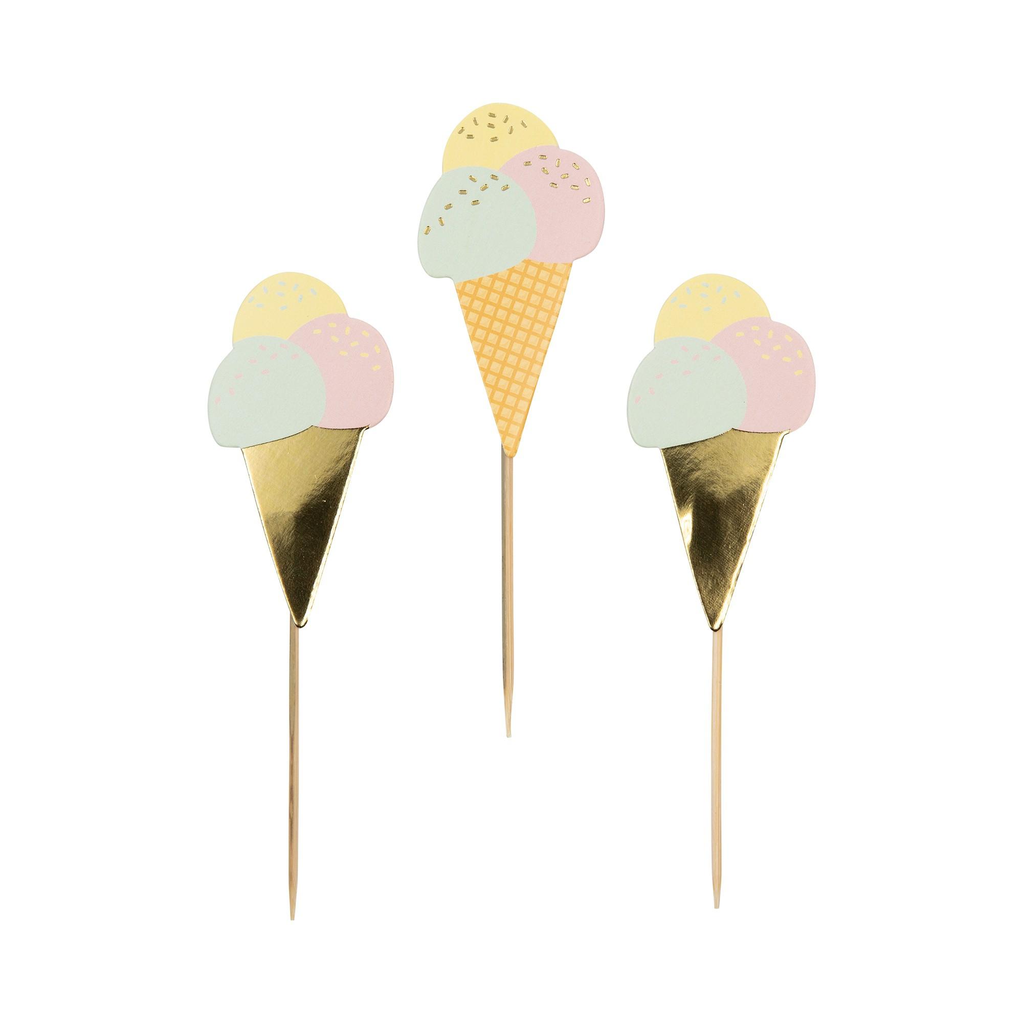 קישוט שולחן, קישוט קאפקייק, קיסם, קיסמים, קיסמי נייר עלים, קיסם, קיסמים, קיסם גלידה, גלידה, קיסמי נייר בצורת גלידה