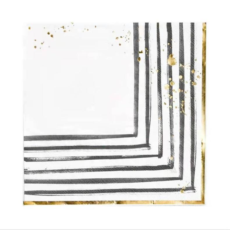מפיות קוקטייל לבן שחור זהב