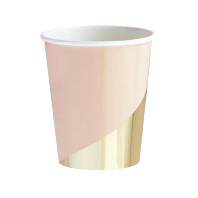 כוסות נייר ורוד זהב