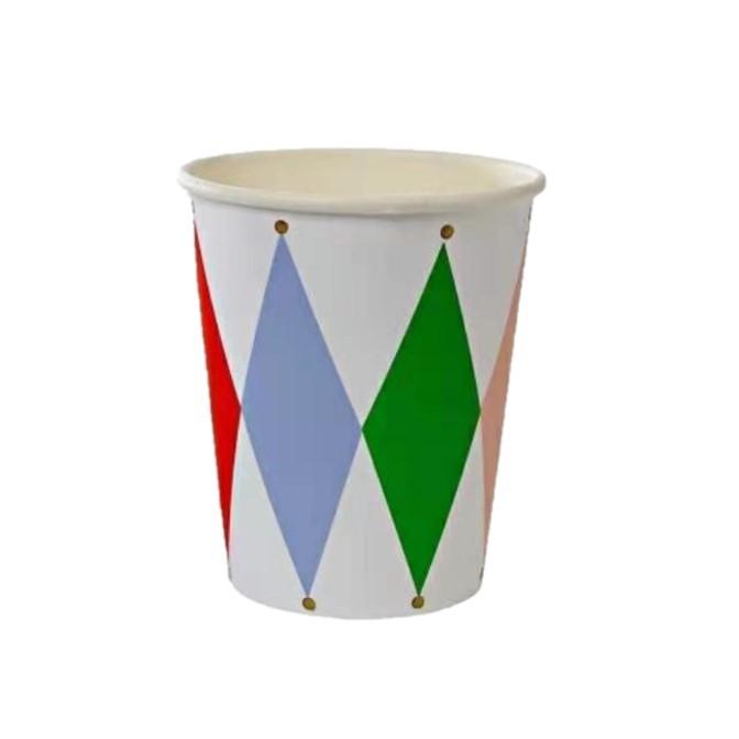 כוסות נייר מעויינים צבעוניים