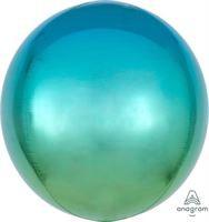 בלון אלומיניום תלת מימד אומברה כחול ירוק