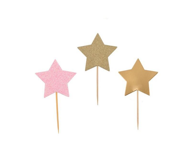 קישוט שולחן, קישוט קאפקייק, קיסם, קיסמים, קיסמי נייר כוכב ורוד גליטר, זהב גליטר וזהב חלק, כוכב, קיסם, קיסמים, קיסם כוכב, כוכב, כוכבים