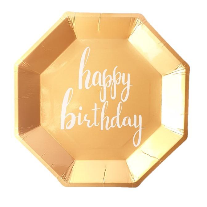 צלחות נייר מתומן רוז גולד- happy birthday