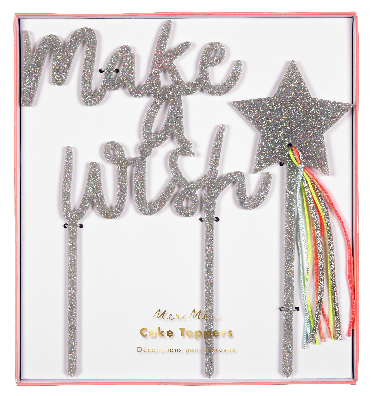 קייק טופר make a wish - Meri Meri, meri meri, טופר, קייק טופר, קישוט לעודה, עוגת יםו הולדת, make a wish