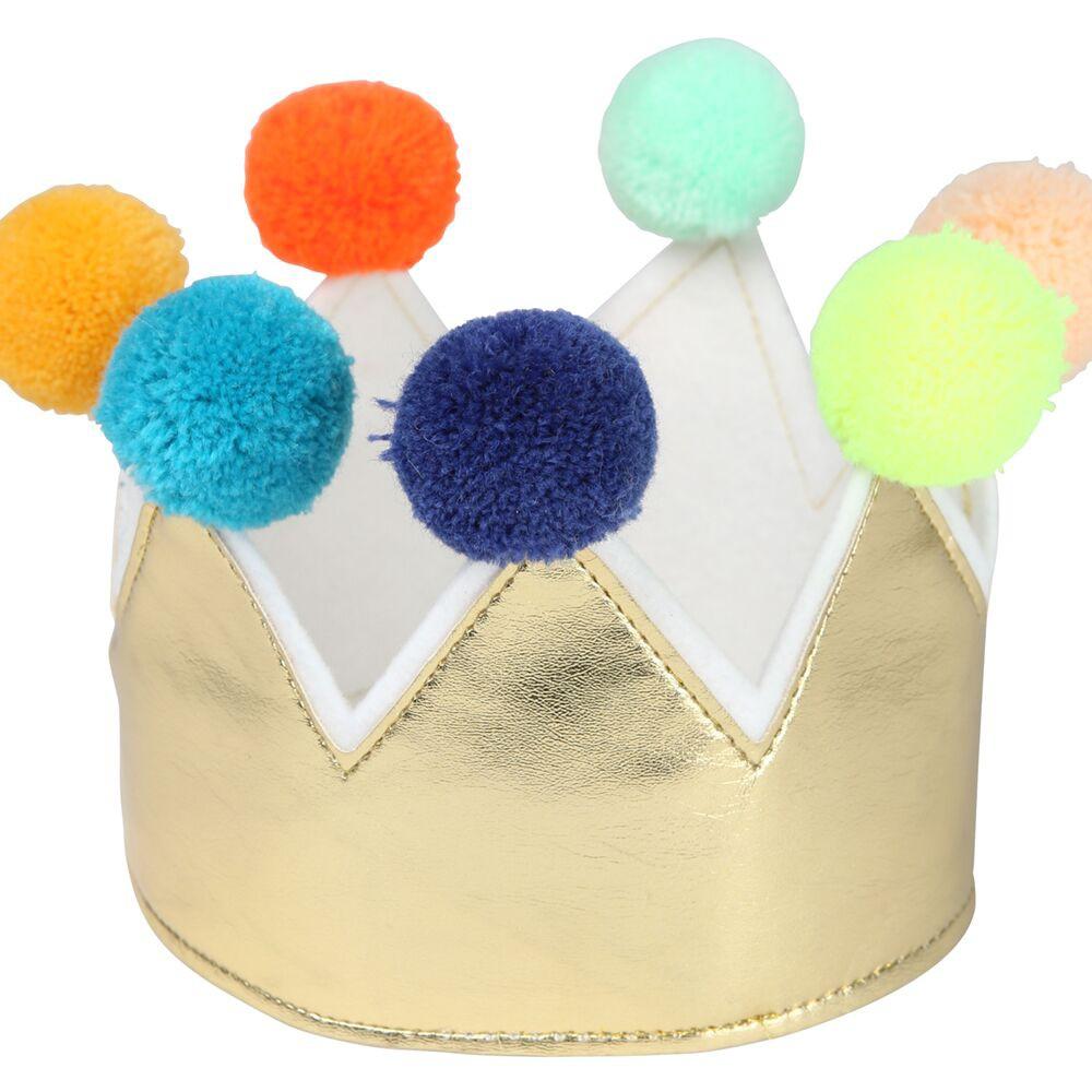 כתר זהב עם פונפונים - Meri Meri, Meri Meri, כתר, כתר זהב, זר, זר לראש, זר יום הולדת, יום הולדת