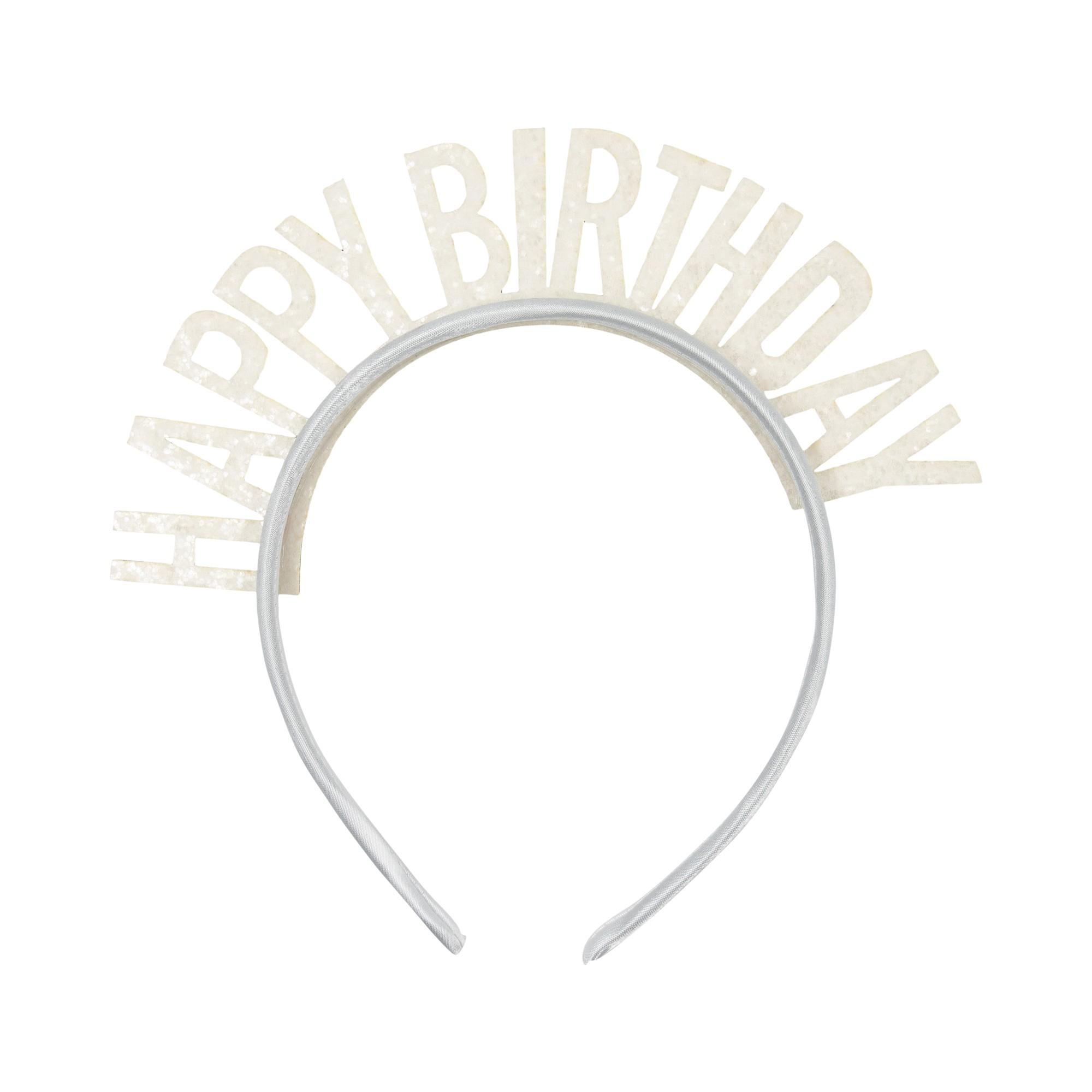 קשת Happy Birthday לבן נוצץ, קשת, כתר, כתר יום הולדת,, קשת יםו הולדת, יום הולדת, Happy Birthday, אביזרים ליום הולדת, אביזרים למסיבת יום הולדת