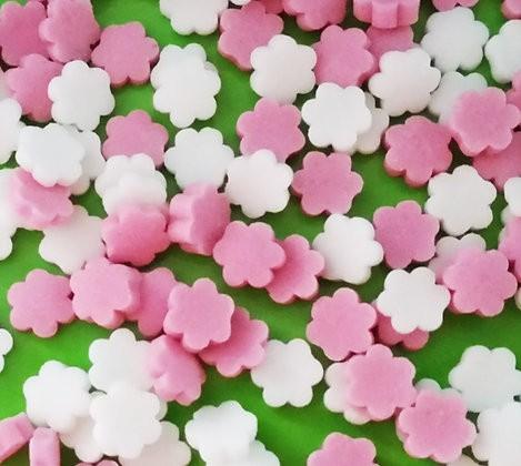 סוכריות לעוגה פרחים ורוד לבן