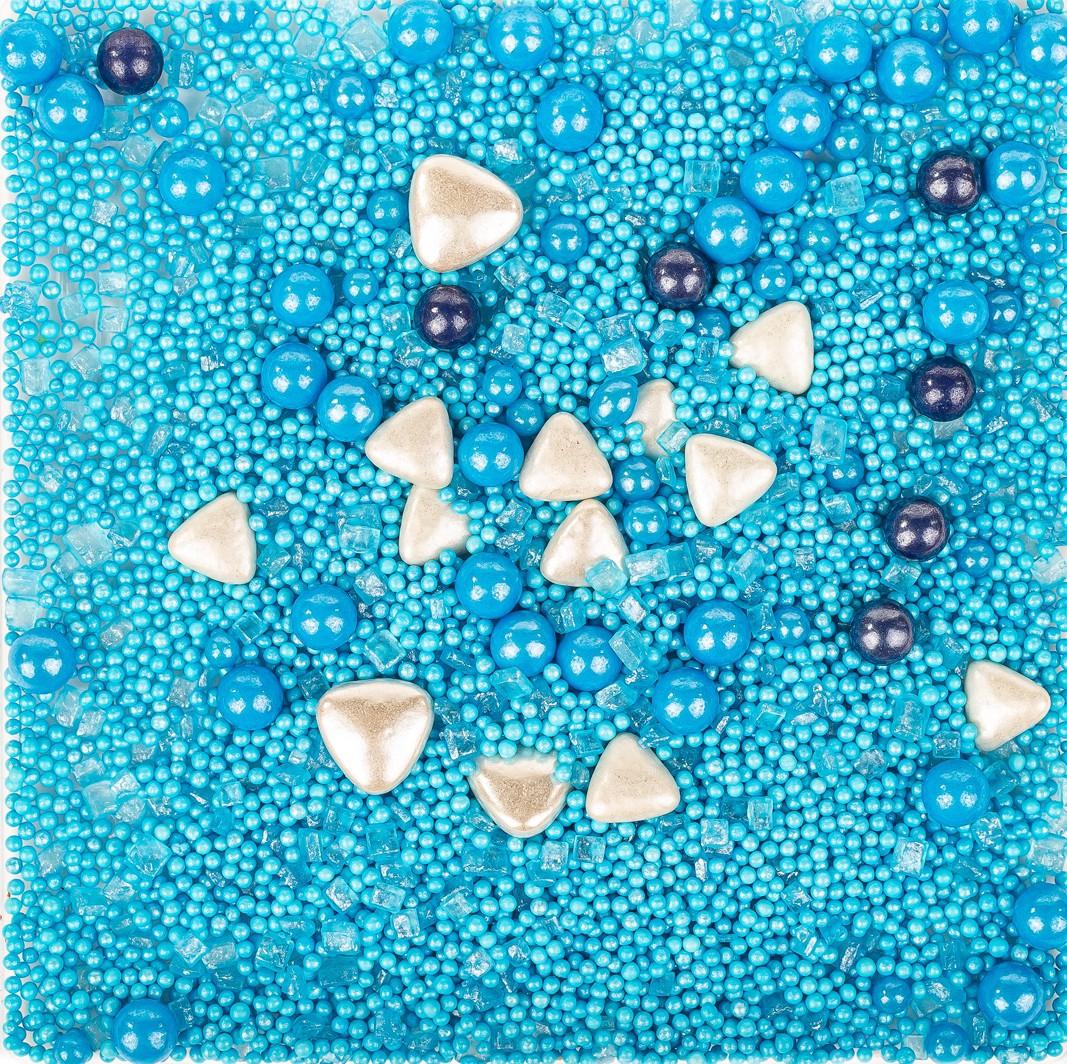 סוכריות לעוגה מיקס כחול תכלת לבן- 120 גרם