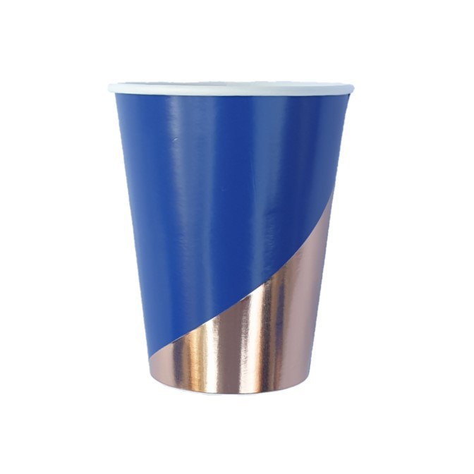 כוסות נייר כחול נייבי עם רוז גולד