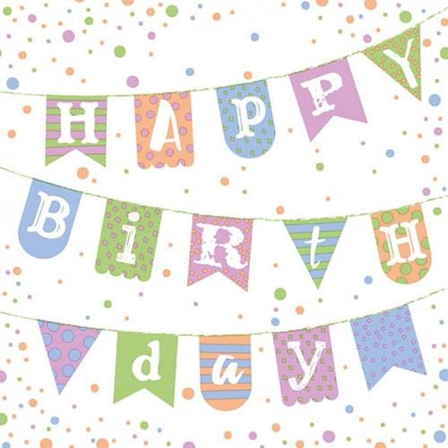 מפיות דגלוני happy birthday צבעי פסטל