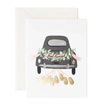 כרטיס ברכה לחתונה- רכב מקושט