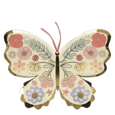 צלחות נייר בצורת פרפר בעיטור פרחים - Meri Meri