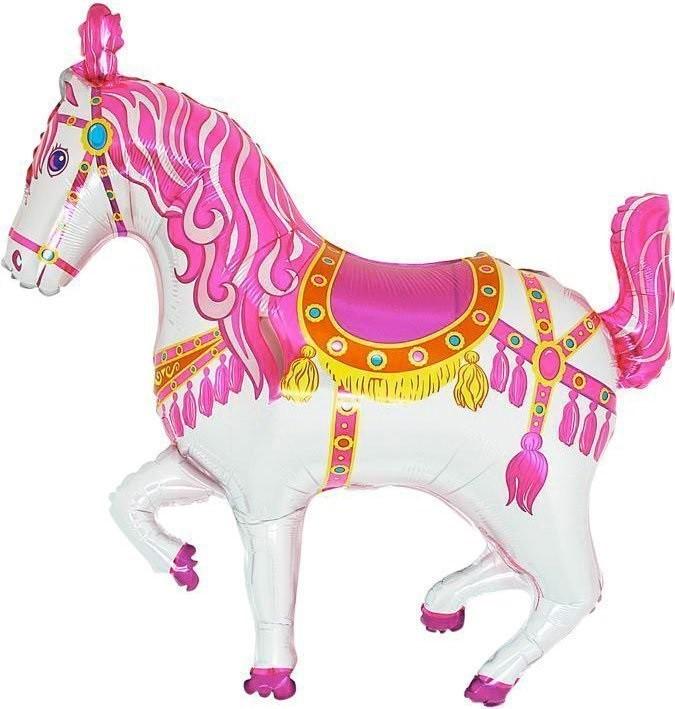 בלון סוס לבן, בלון, סוס, סוס חום, סוסים, בלון סוס, הליום, בלונים, בלון, בלון סוס קרוסלה פוקסיה