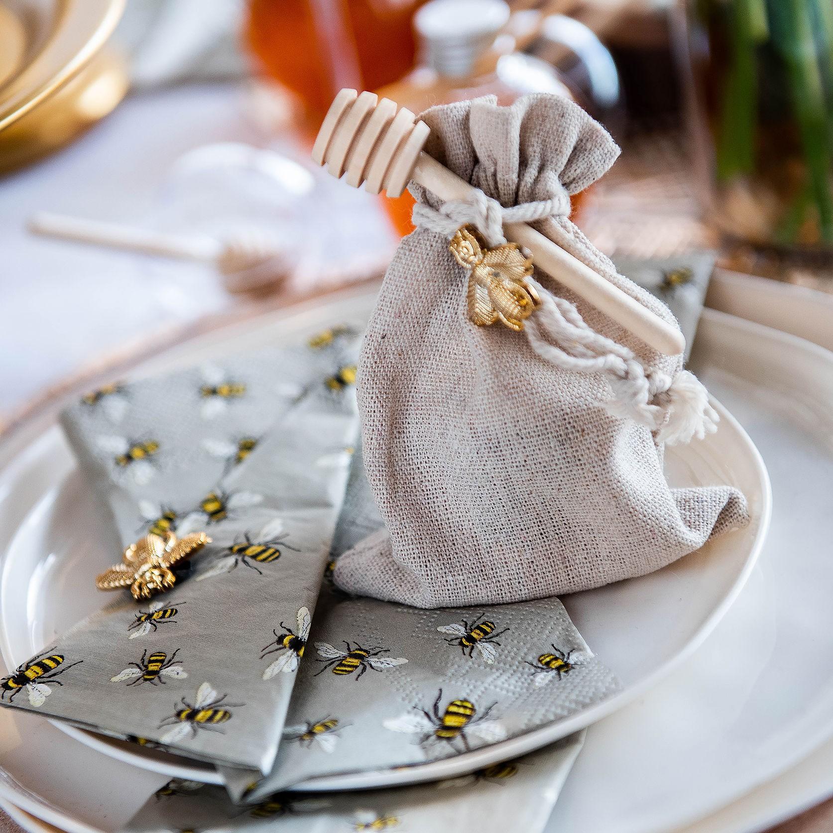 שקית בד יוטה אישית עם צנצנת דבש קטנה