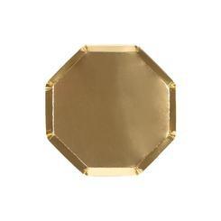 צלחות זהב מתומנות קטנות - Meri Meri, מרי מרי, MERI MERI, צלחת, צלחת זהב, צלחות, צלחות זהב, צלחות מתומנות, מסיבה, מסיבת זהב, זהב