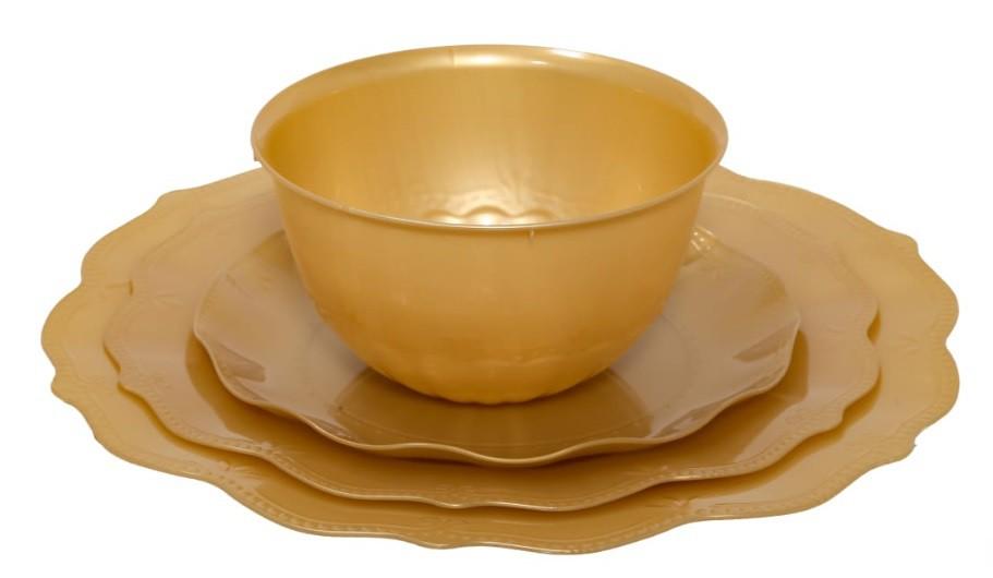 צלחות וינטג' פרימיום זהב קטנות