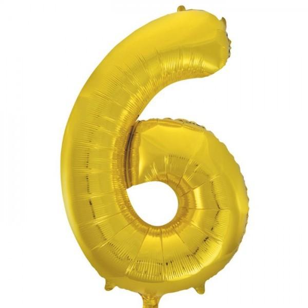 בלון ענק ספרה 6 זהב