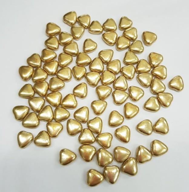 סוכריות לעוגה לבבות דרז'ה זהב מטאלי