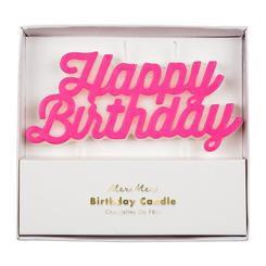 נר Happy Birthday בצבע ורוד - Meri Meri