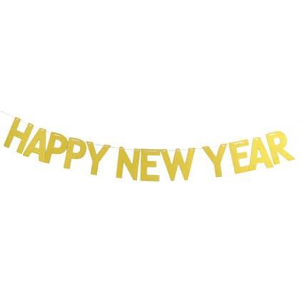 סילבסטר, מסיבת סילבסטר, אביזרים למסיבת סילבסטר, 2020, שרשרת, שרשרת אותיות זהב בכיתוב Happy New Year.