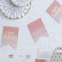 שרשרת דגלונים ורודים HAPPY BIRTHDAY