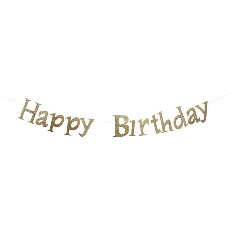 שרשרת יום הולדת שמח, יום הולדת, קישוטים ליום הולדת, קישוטים למסיבה, קישוט, אווירה, יום הולדת Happy Birthday, שרשרת Happy Birthday זהב