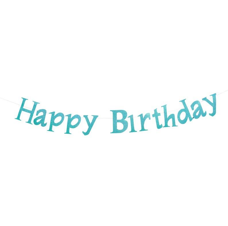 שרשרת Happy Birthday תכלת נוצץ
