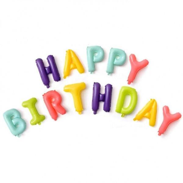 בלוני בצבעי מקרון Happy Birthday