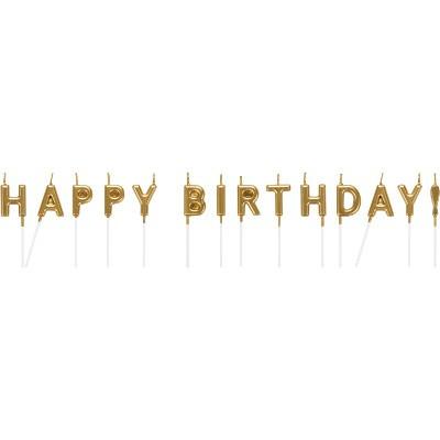 קישוטים, נרות לעוגה, נרות יום הולדת, נרות Happy Birthday, קישוטי עוגה, נרות בעיטור זהב, זהב, נרות זהב, נר זהב