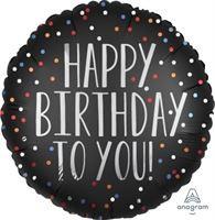 בלון הליום שחור נקודות Happy Birthday