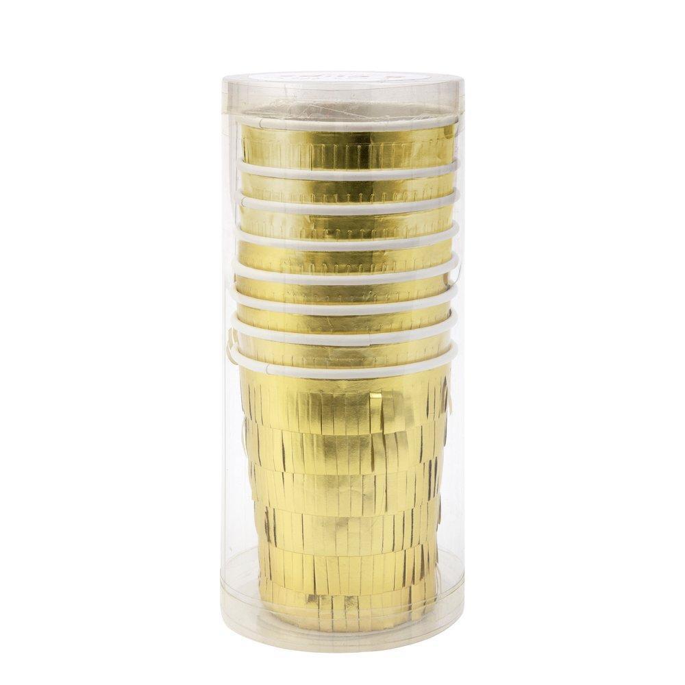 כוסות נייר מקושטות פרנזים זהב - meri meri