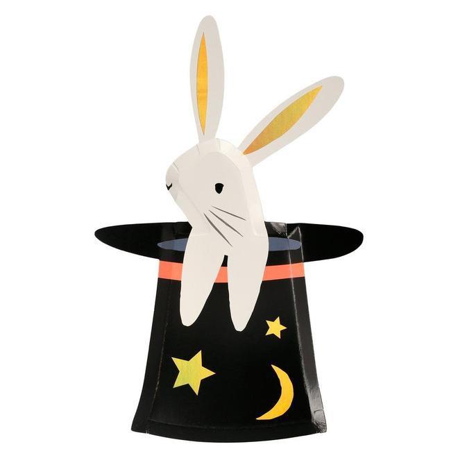 צלחות נייר בצורת שפן בכובע - Meri Meri