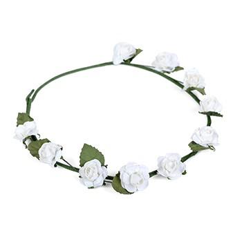 זר פרחים לראש צבע לבן