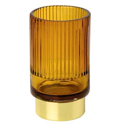 עששית פסי זכוכית צבע דבש עם תחתית זהב- גדולה