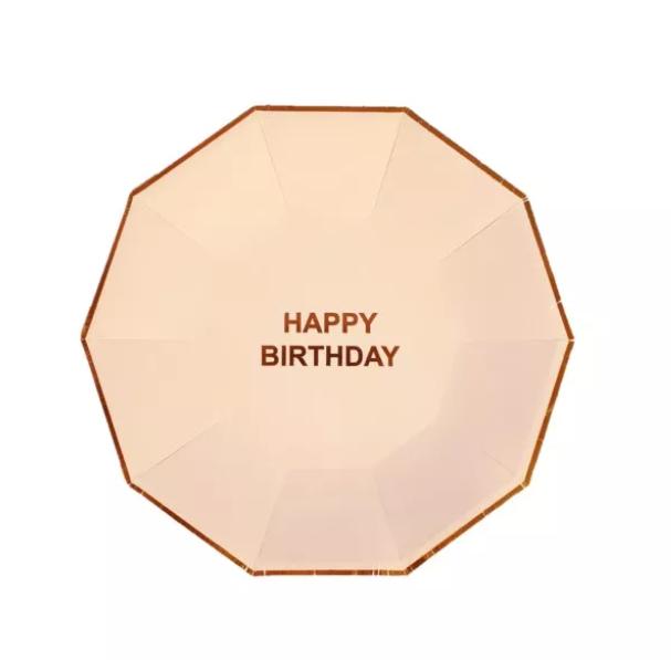 צלחות ורודות happy birthday