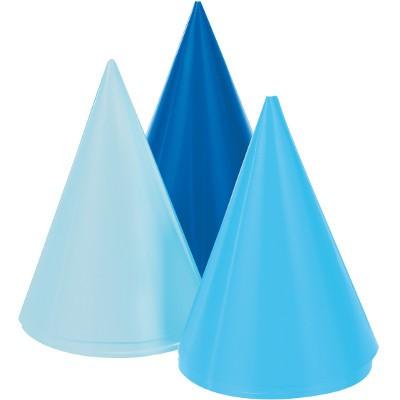 כובע ליצן, אביזרים לפורים, פורים, חג פורים, קישוט לפורים, מארז כובעים בגווני כחול, כחול, כובע כחול, כובעים כחולים, יום הולדת, מסיבת יום הולדת, אביזרים למסיבה