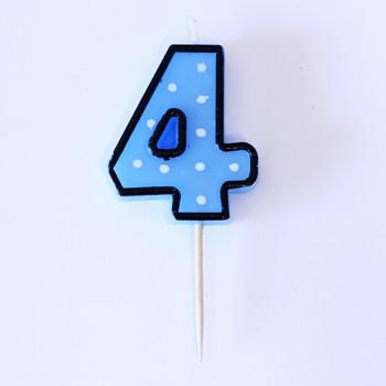 נר הספרה ארבע - כחול