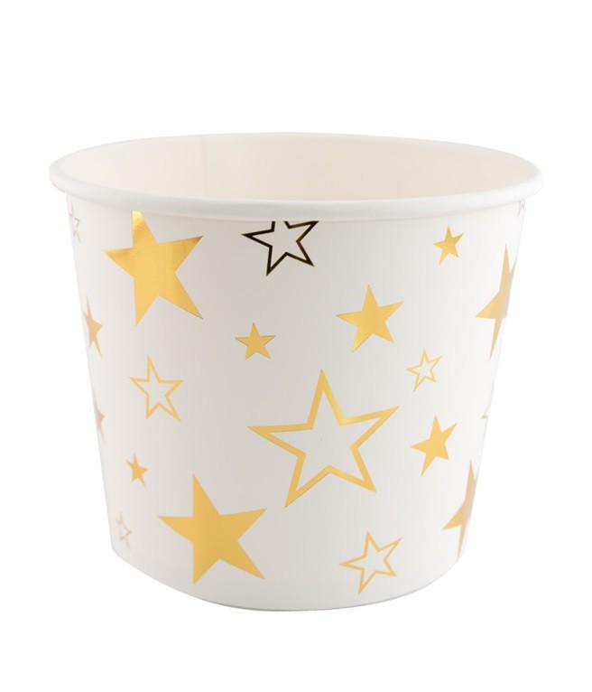 דלי מנייר לבן עם כוכבים זהב