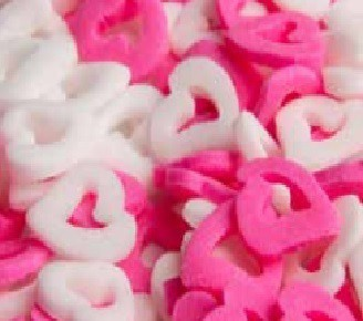 סוכריות לעוגה לבבות חלולים ורוד ולבן