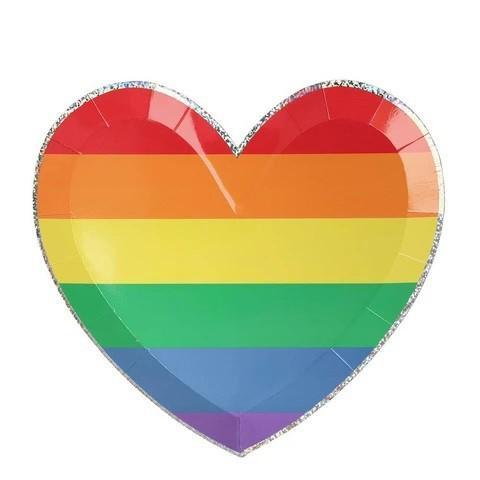 צלחות נייר לב גדולות בצבעי הקשת - Meri Meri